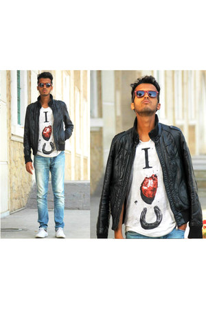 cotton Bershka t-shirt - jeans pull&bear jeans - leather Formula joven jacket