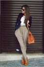 Tawny-random-bag-tawny-f21-heels-tan-zara-pants-white-random-shirt-navy-