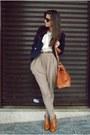 Tawny-random-bag-tawny-f21-heels-tan-zara-pants-white-random-shirt-navy-