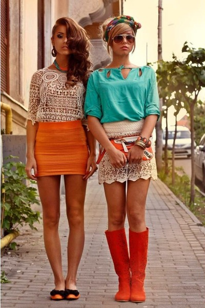 Carrot-orange-bandage-raus-skirt-aquamarine-seafoam-raus-top_400