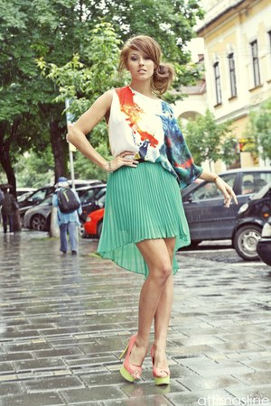 lime green voal raus skirt - ruby red silk raus top