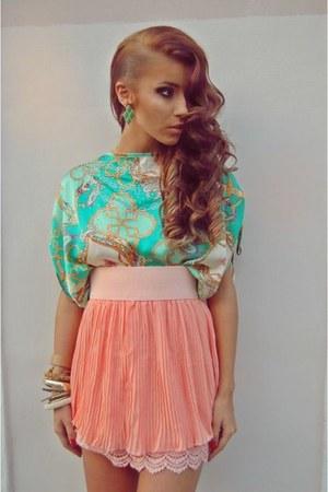 light pink chiffon raus skirt - aquamarine silky raus top