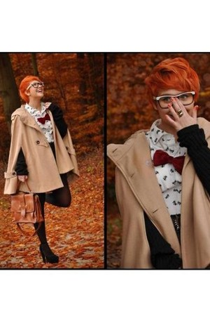 nude jacket - carrot orange top - black shoes - brick red