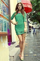 forest green lace raus dress - salmon peep toe raus heels