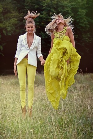 white stud No1 blazer - tan wild No1 boots - lime green silk No1 dress