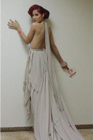 beige Roxana Simon dress - tan platform CRYSTAL heels