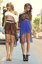 eggshell leopard raus skirt - blue chiffon raus skirt