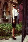 Ivory-ruffle-random-shirt-black-pencil-custom-made-skirt-brown-crystal-heels