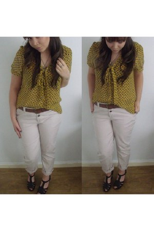 yellow blouse Topshop top - beige chinos Primark pants