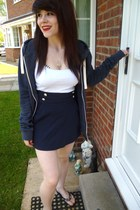 navy Atmosphere skirt - navy H&M men hoodie - ivory bandeau white Ebay bra