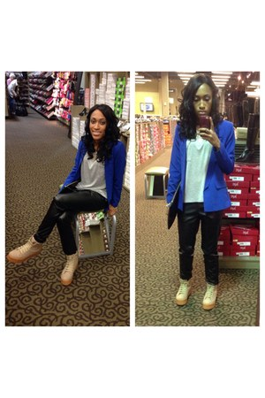 blue Forever 21 blazer - neutral homg Jeffrey Campbell shoes