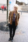 Violet-american-apparel-jumper-burnt-orange-vintage-blazer-black-zara-pants-