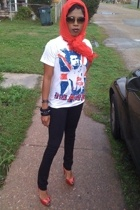 scarf - t-shirt - pants - Christian Louboutin shoes