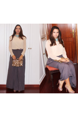 charcoal gray Zara skirt - peach Schutz heels - peach Zara blouse