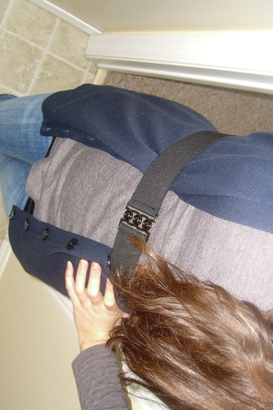black Forever 21 belt - blue vest - gray shirt - blue American Eagle jeans