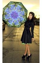 thrifted coat - Steve Madden boots - thrifted green skirt