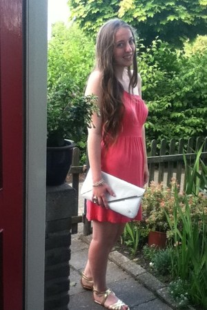 salmon Primark dress - white Primark bag - gold H&M sandals