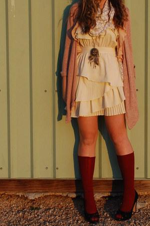 crimson American Apparel stockings - cream ruffled papaya dress