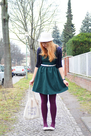 H&M Kids cardigan - PERSUNMALL dress - vintage hat - H&M tights - Blowfish flats
