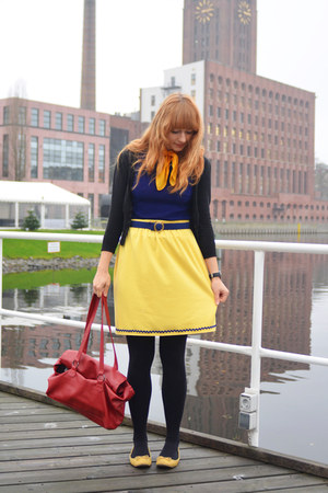 second hand top - daniel hechter bag - second hand skirt