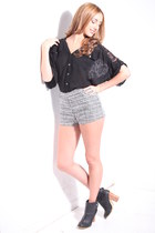heather gray tweed shorts - black cotton blouse - black heels
