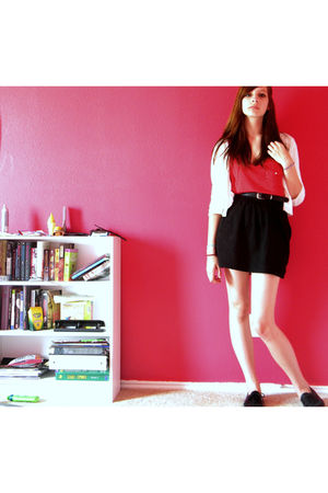 red Forever 21 blouse - black skirt - black vintage belt - black olsenboye shoes