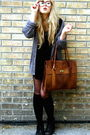 Gray-frk-cardigan-black-h-m-blouse-black-wera-bag-second-hand-boots-brow