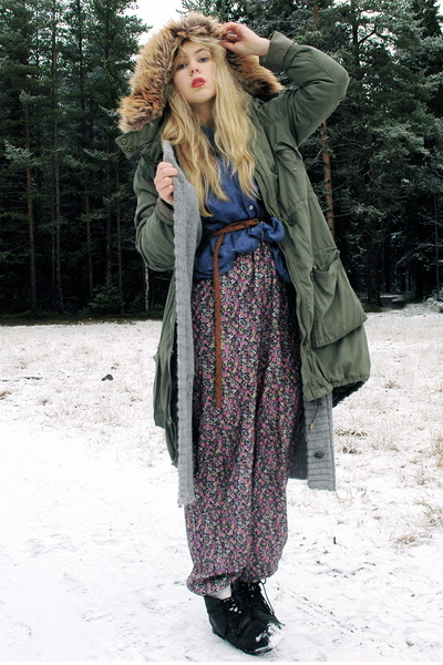 purple jumpsuit GINA TRICOT jumper - army green parka H&M jacket