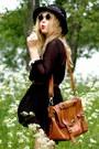 Black-monki-dress-brown-satchel-wera-bag-black-over-the-knee-h-m-socks-bla