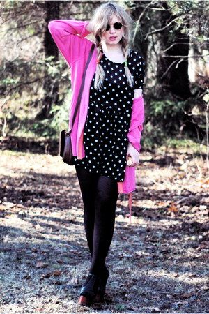 black Jeffrey Campbell shoes - black dotted frk dress - black lennon 80s Purple