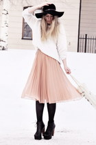 light pink sheer Monki skirt - black Jeffrey Campbell shoes