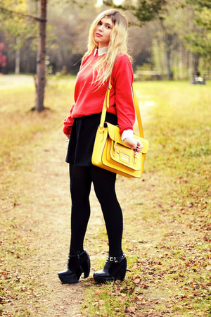 yellow satchel romwe bag - black platforms Modekungen boots