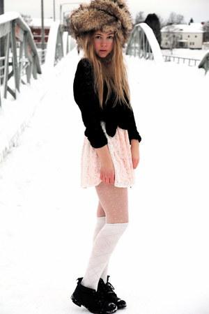 peach Monki dress - black moms sweater - white H&M stockings