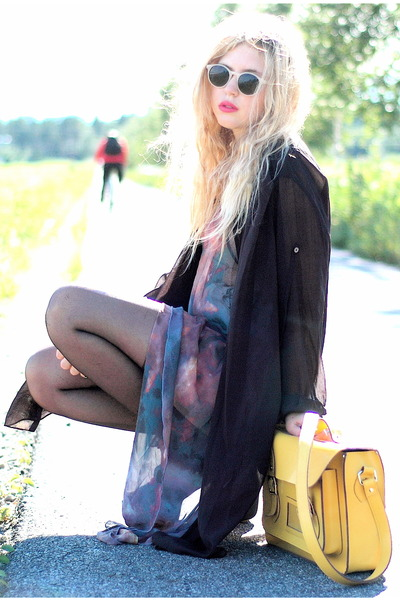 yellow satchel romwe bag - galaxy romwe dress - black transparent acne shirt