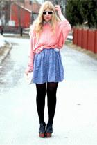 white wayfarer 80spurple sunglasses - periwinkle floral vintage skirt - black fo
