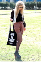 white crochet vintage vest - black Monki shirt - brown paper bag H&M shorts