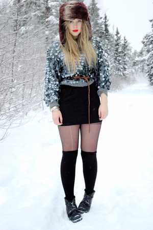 silver Beyond Retro sweater - black acne dress