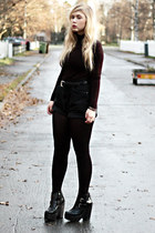 black busted Jeffrey Campbell boots - black polo H&M shirt