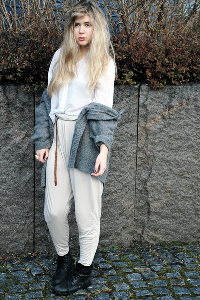 gray frk cardigan - black thrifted boots - beige H&amp;M pants - white H&amp;M shirt