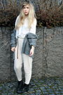 Gray-frk-cardigan-black-thrifted-boots-beige-h-m-pants-white-h-m-shirt