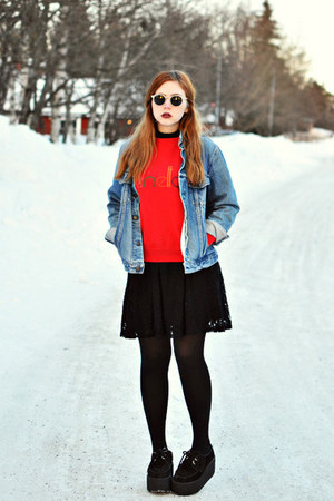 denim jacket - creepers Underground shoes - lace Monki dress
