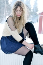black combat boots thrifted boots - navy Mina UK dress