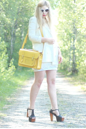 white Monki blazer - yellow satchel romwe bag - black Jeffrey Campbell heels