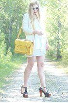 white Monki blazer - yellow satchel romwe bag - black Jeffrey Campbell heels