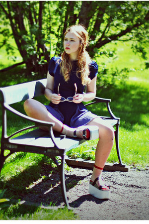 navy lace Koshka dress - ruby red transparent Koshka socks
