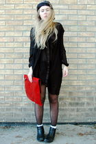 red clutch vintage bag - black leather moms boots