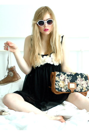 black sheer asos dress - brown satchel GINA TRICOT bag