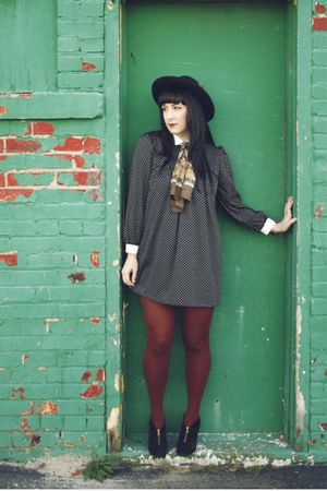 black vintage dress - brown HUE tights - gold thrifted scarf - black UO 09 shoes