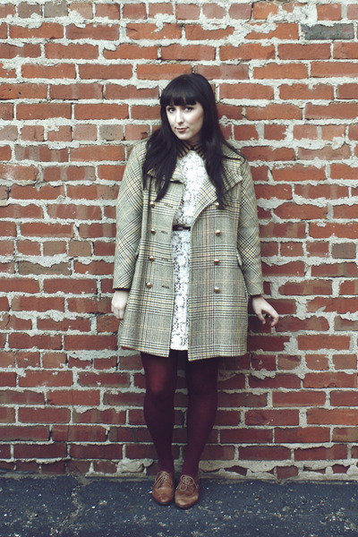 off white vintage dress - brown thrifted blouse - maroon vintage tights - tan vi