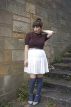 blue vintage sweater - blue Urban Outfitters socks - white thrifted skirt - beig